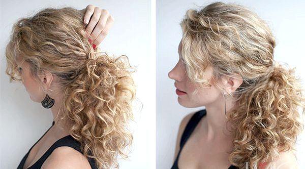 Кучеряве волосся можна просто зібрати в хвіст. Фото з сайту parikmaherov.net