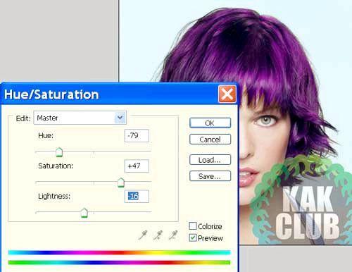 Як змінити колір волосся в фотошопі урок