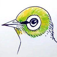 як намалювати птаха на гілці