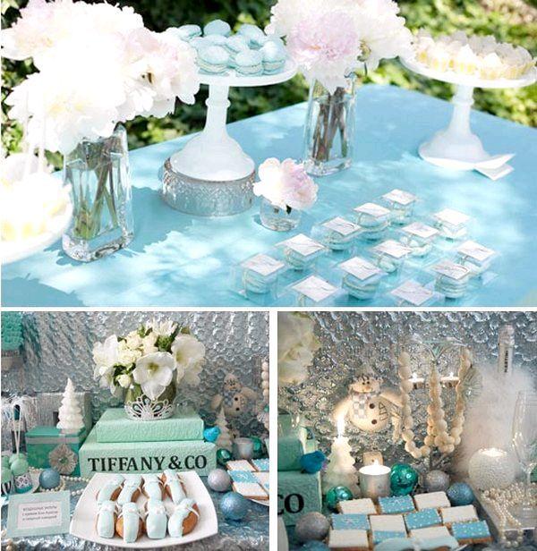 Сервіровка столу і прикраси виконані у блакитно-білих тонах. Фото з сайту http://lulusvadba.ru